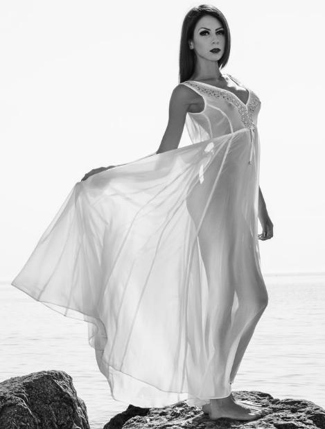 Monica in elegant dress